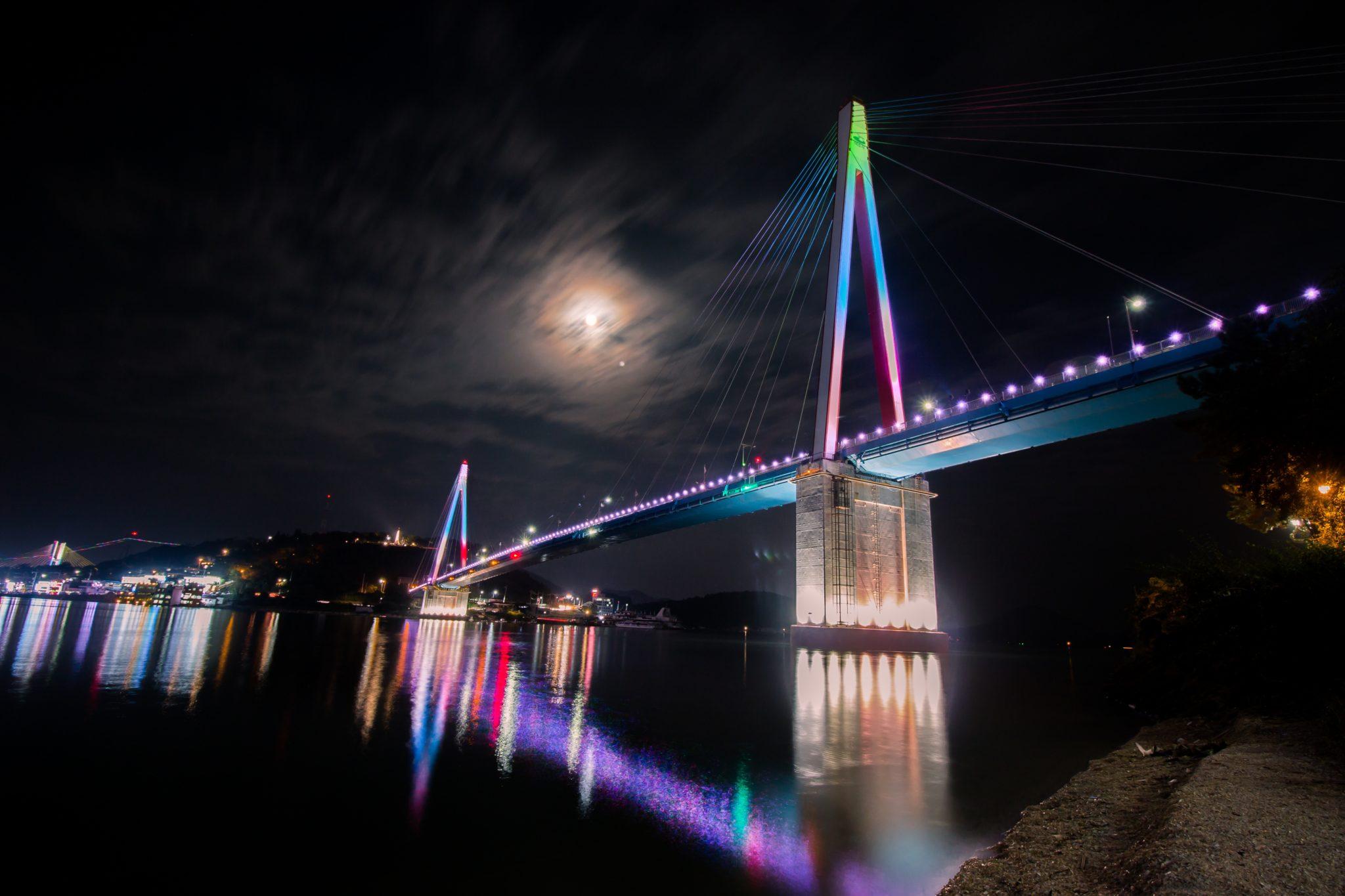 Bridge with multi colored lights