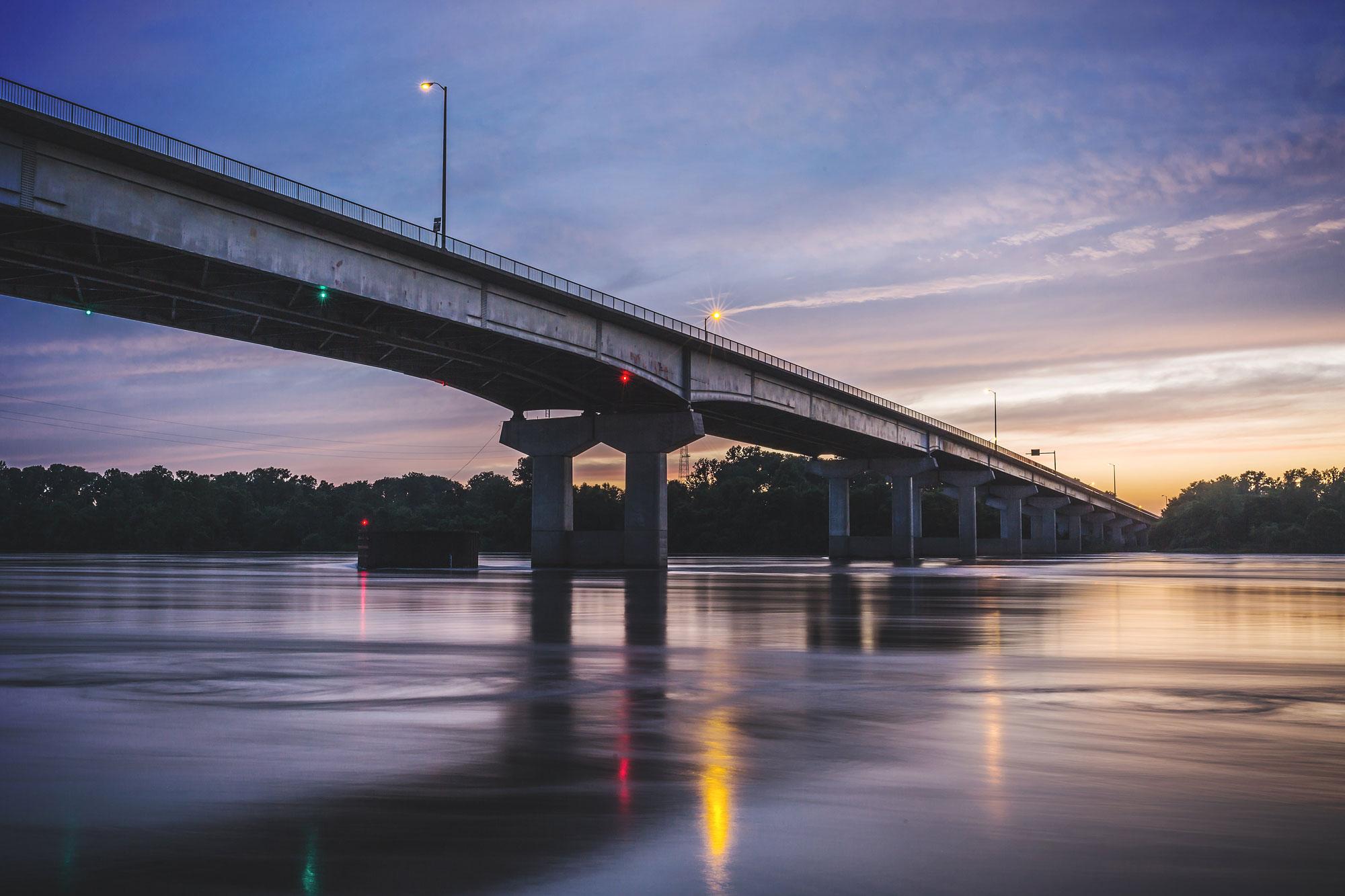 midwest bridge dusk industrial